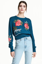 Knitted jumper with embroidery - Dark blue/Floral - Ladies | H&M 1