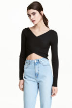 Cropped wrapover jumper - Black - Ladies | H&M CN 1