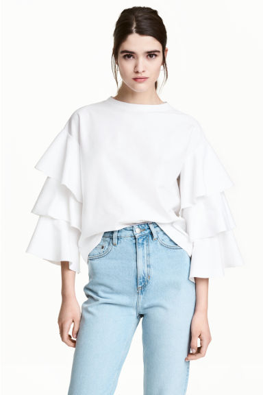 Top with tiered sleeves - White - Ladies | H&M 1