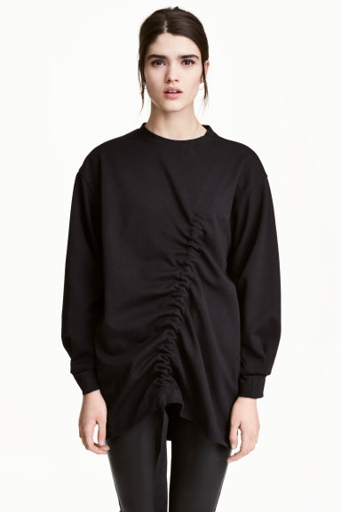 Sweatshirt with a drawstring - Black - Ladies | H&M 1