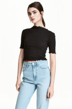 Ribbed top - Black -  | H&M 1