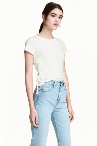 Top with lacing - White - Ladies | H&M