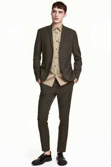 Suit trousers Skinny fit - Dark khaki green - Men | H&M CA 1