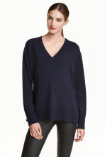 Cashmere jumper - Dark blue - Ladies | H&M GB 1