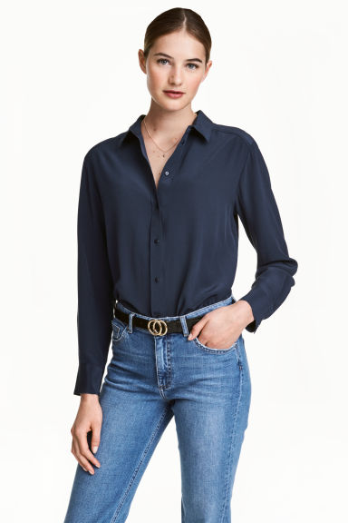 Silk blouse - Dark blue - Ladies | H&M CN 1