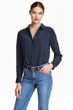Silk blouse - Dark blue - Ladies | H&M 1
