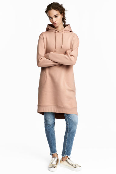 Hooded sweatshirt dress - Beige - Ladies | H&M CN 1