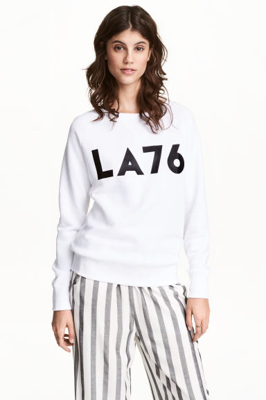 Printed sweatshirt - White - Ladies | H&M