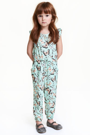 Patterned jumpsuit - Mint/Butterflies - Kids | H&M