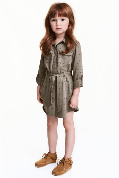 Shirt dress - Khaki green - Kids | H&M 1