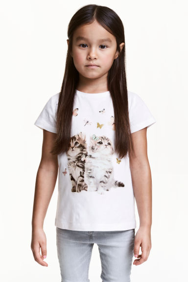 Printed top - White/Cats -  | H&M CN 1