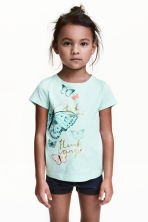 Printed top - Mint/Butterflies -  | H&M CN 1