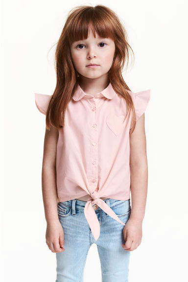 Blouse with frilled sleeves - Light pink - Kids | H&M CN