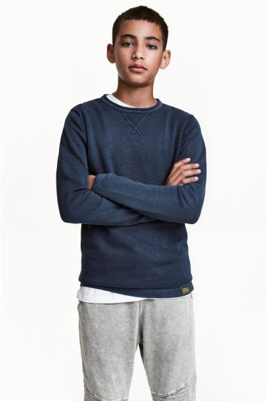 Fine-knit jumper - Dark blue - Kids | H&M 1