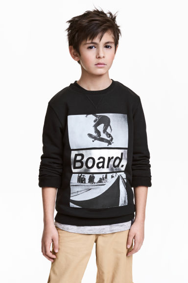 Printed sweatshirt - Black/Skateboard - Kids | H&M 1
