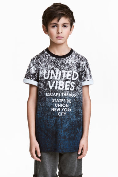 Patterned T-shirt - Black/Dark blue -  | H&M 1
