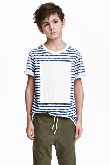 Patterned T-shirt - White/Dark blue/Striped - Kids | H&M CN 1