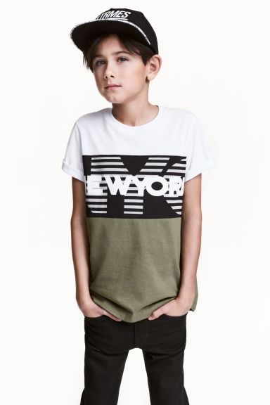 Printed T-shirt - Khaki green/New York -  | H&M CN 1