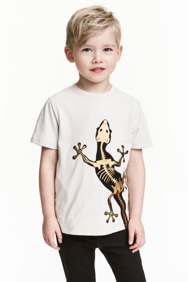 Printed T-shirt - Light grey/Lizard - Kids | H&M CN