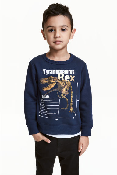 圖案運動衫 - Dark blue/Dinosaur - Kids | H&M 1