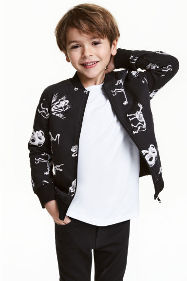 Sweatshirt jacket - Black/Dinosaurs -  | H&M 1