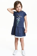 Hooded jersey dress - Dark blue - Kids | H&M 1