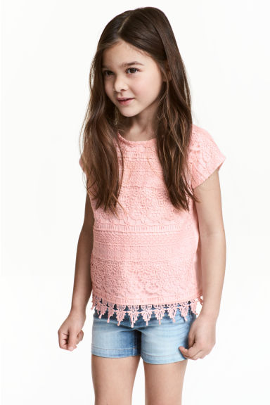 Top with lace - Light pink - Kids | H&M 1