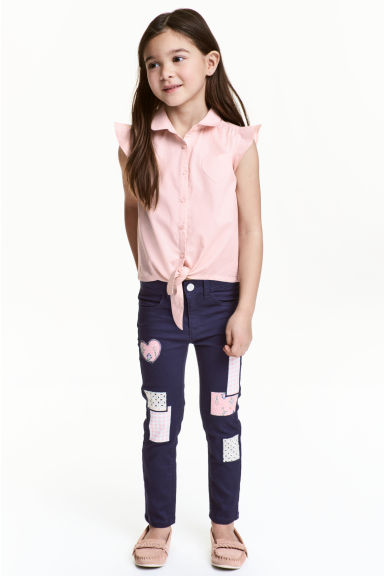 Twill trousers with patches - Dark blue - Kids | H&M CN 1