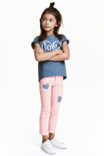 Twill trousers with patches - Light pink - Kids | H&M CN 1