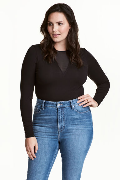 H&M+ Long-sleeved top - Black - Ladies | H&M 1