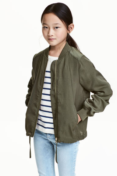 Light bomber jacket - Khaki green - Kids | H&M CN 1