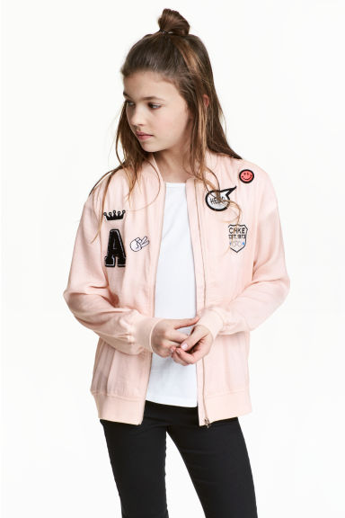 Satin bomber jacket - Powder pink - Kids | H&M