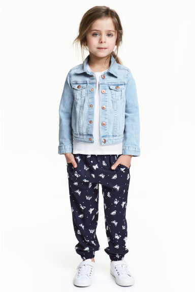 Patterned pull-on trousers - Dark blue/Butterflies - Kids | H&M CN 1