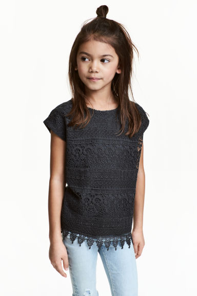 Top with lace - Dark grey - Kids | H&M CN 1
