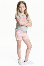 Embroidered twill shorts - Light pink - Kids | H&M 1
