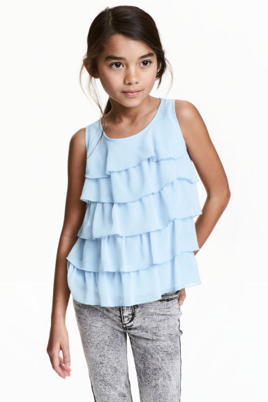 Tiered top - Light blue - Kids | H&M CN 1