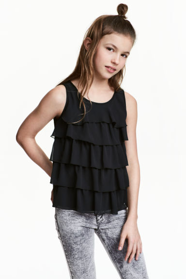 Top met volants - Zwart -  | H&M BE