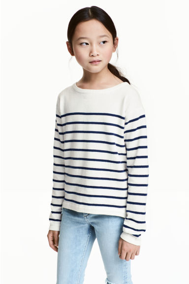 Fine-knit jumper - White/Dark blue/Striped - Kids | H&M CN 1