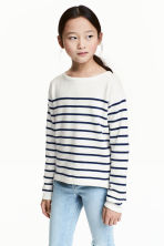 Fine-knit jumper - White/Dark blue/Striped -  | H&M 1