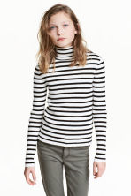 Ribbed polo-neck jumper - Black/White/Striped - Kids | H&M CN 1