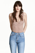 Ribbed jersey body - Beige - Ladies | H&M 1