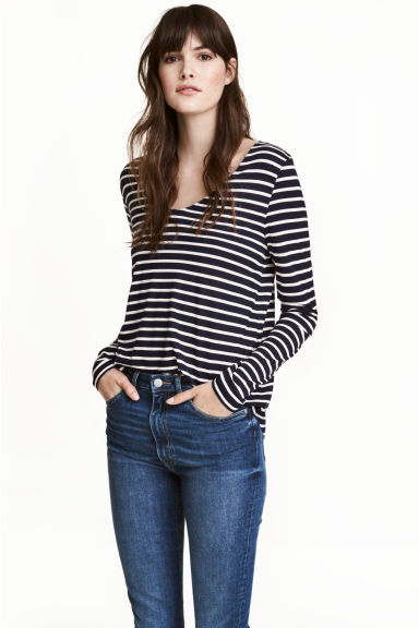 V-neck jersey top - Dark blue/Striped - Ladies | H&M CN 1