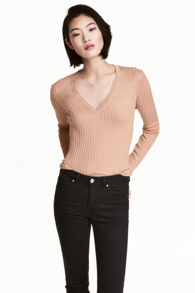 Rib-knit jumper - Beige - Ladies | H&M CN