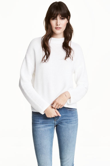 Textured-knit jumper - White - Ladies | H&M CN 1