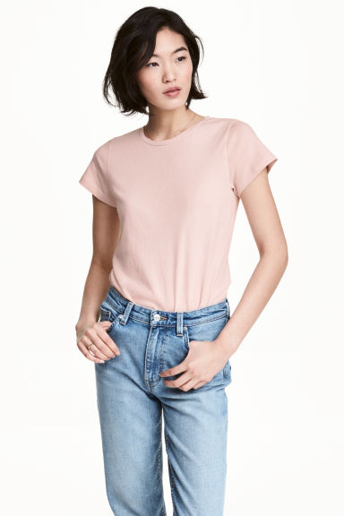 Short-sleeved top - Powder pink - Ladies | H&M 1