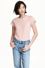 Short-sleeved top - Powder pink - Ladies | H&M CN 1
