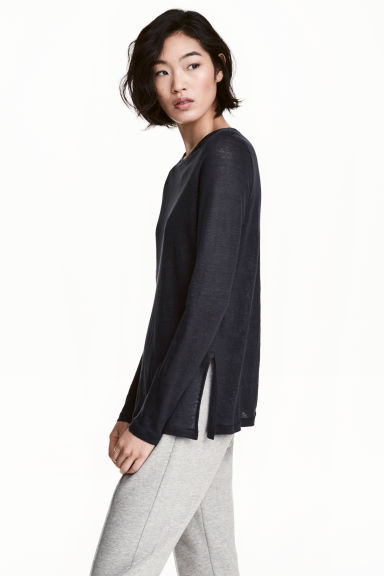 Long-sleeved linen top - Dark blue marl -  | H&M
