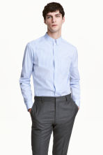 Premium cotton shirt - White/Blue striped - Men | H&M CN 1