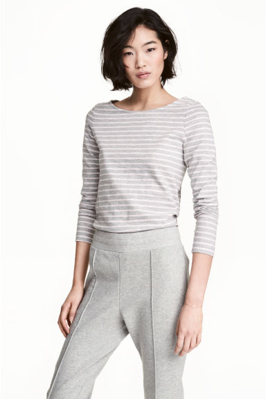 Top in slub jersey - Grey/Striped - Ladies | H&M