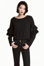 Jumper with frills - Black - Ladies | H&M 1